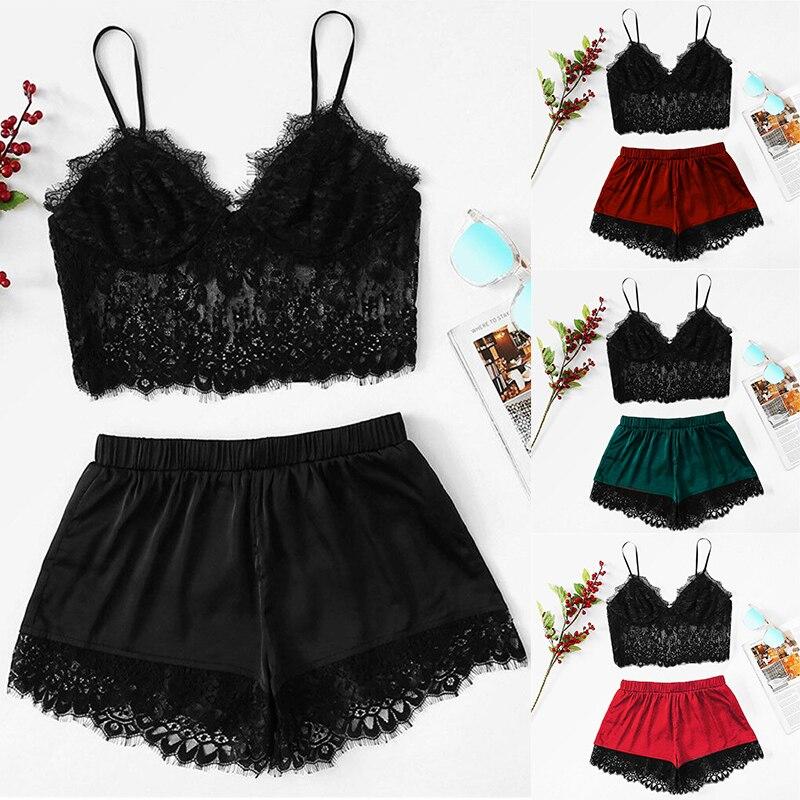 Sexy Pyjamas Women Pyjama Femme Plus Size Sling Lace Sleepwear Lingerie Nightwear Underwear Set