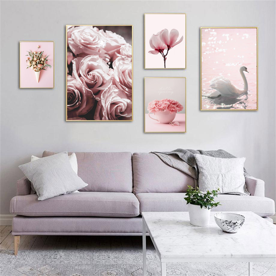 Romantic Rose Magnolia Carnation Swan Wall Art Canvas Painting Nordic Posters And Prints Wall Pictures For Living Room Decor