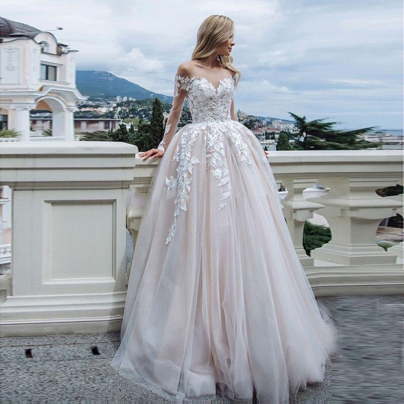 Eightale Long Sleeve Wedding Dress Boho 2019 Appliques Lace A-Line Tulle Custom Made Bohemian Wedding Gowns Bride Dresses