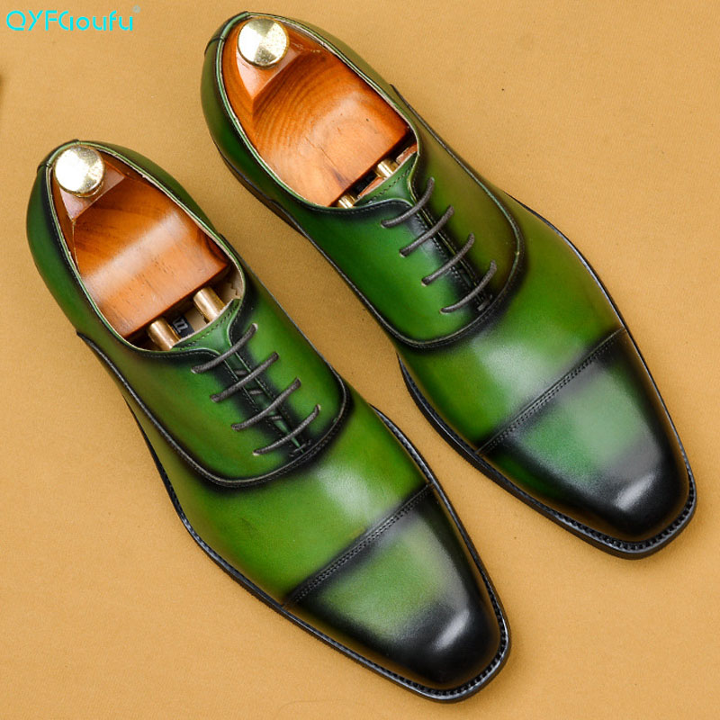 QYFCIOUFU Men Genuine Cow Leather Brogue Wedding Business Mens Casual Flats Shoes 2019 Green Vintage Oxford Shoes For Men's Shoe