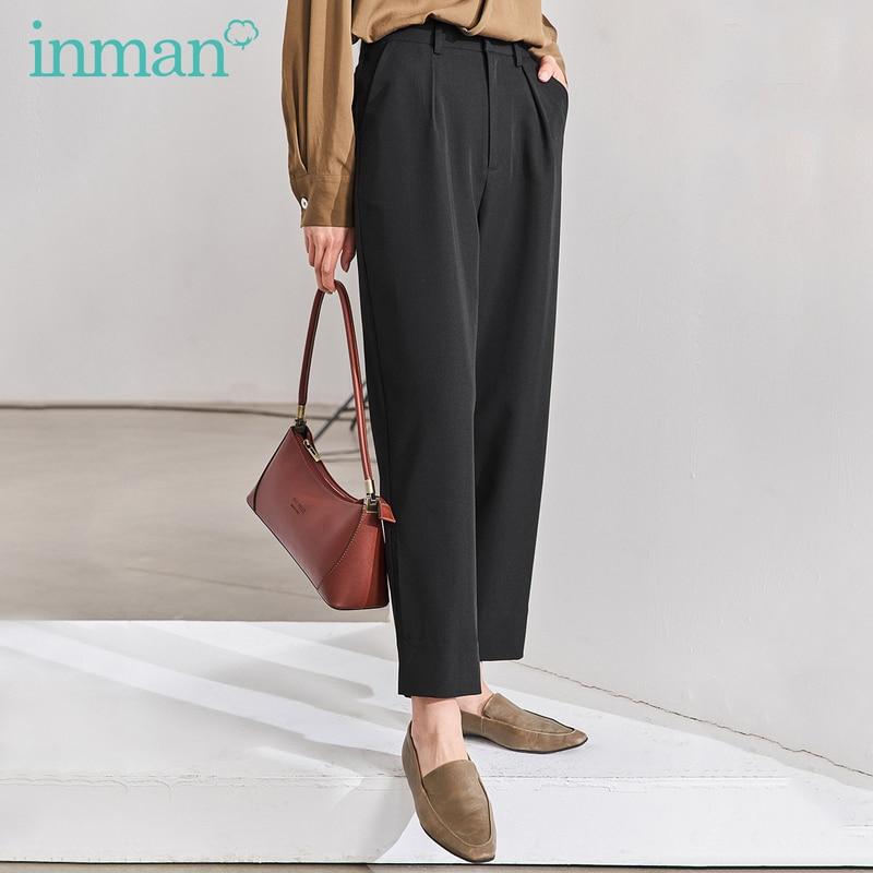 INMAN 2020 Spring New Arrival Literary Retro Medium Waist Loose And Slim Turnip Pants With Pockets