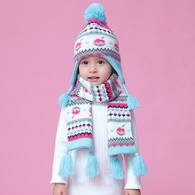 2019 Blue Peach Ear Protection Cap for Baby Girl Knitted Hat with Velvet Warm Winter Girls and Scarf