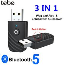 tebe Wireless USB Bluetooth Adapter 5.0 3 in 1 Audio Receiver Transmitter 3.5mm AUX adaptador