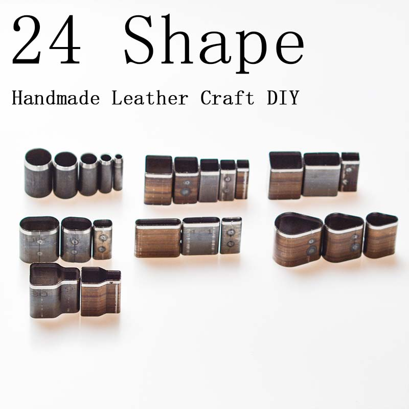 24 Shape Style Hole Hollow Cutter Punch Set For Handmade Leather Craft DIY Tool Best Price