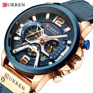 Image 1 - CURREN Watch Mens Watches Top Brand Luxury Men Casual Leather Waterproof Chronograph Men Sport Quartz Clock Relogio Masculino