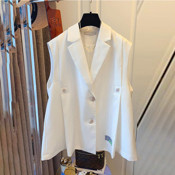 [EWQ] Simple Fashion Trend Ladies Vest Black Office Ladies Clothing 2021 Summer New  Letter Pleated Suit Collar Coats 16W1598 1