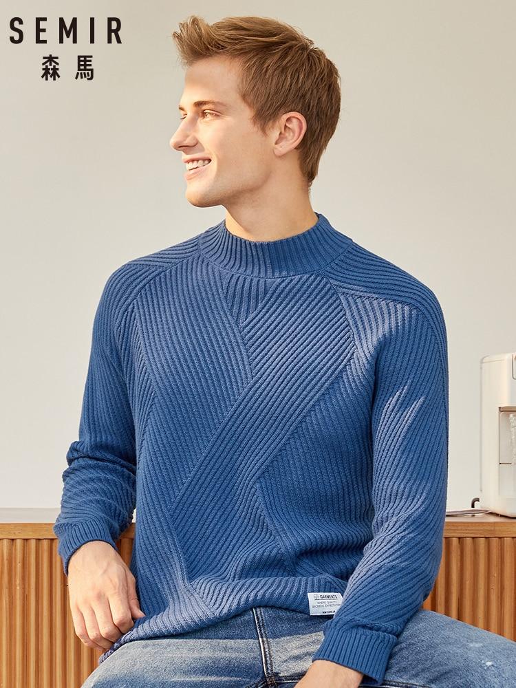 SEMIR Half-neck Sweater Men White Sweater Lazy Wind 2019 Winter New Man Korean Version Thickening Top Knitted