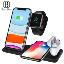 4 in 1 Wireless Charger Stand Foldable Base 15W Fast Wireless Charging for Samsung S20 iPhone 11 Xs 8 iWatch 5 4 3 Airpods 2 Pro