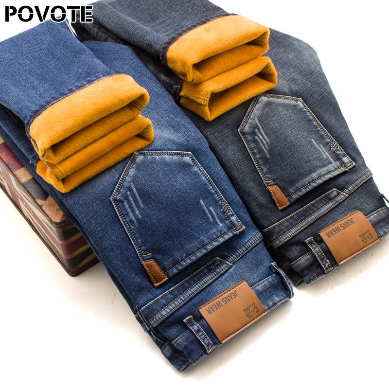 POVOTE Winter Warm Flannel Elastic Jeans Men's Winter Quality Famous Brand Fleece Pants Men's Straight Tube Flocking Pants Jean