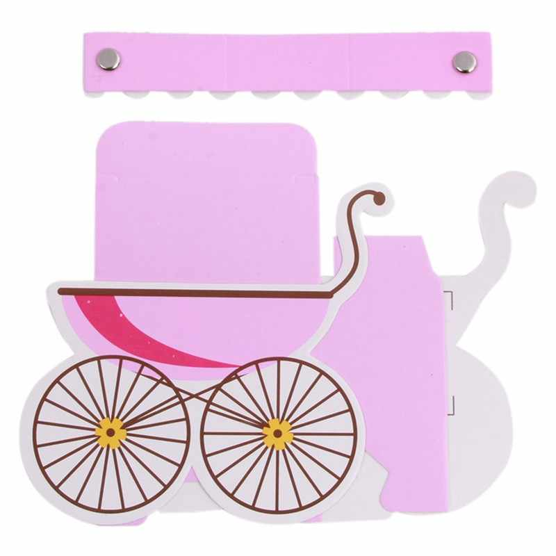 25 unids/lote caja para dulces de fiesta cochecito forma boda Baby Shower Favor papel Cajas de Regalo lindas niños regalo evento Fiesta suministros