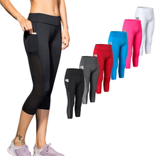 Cropped Pants Women Yoga Capris Quick Drying Cycling Tights Sportswear Gym Clothing Sweatpant Trousers Running Jogging Leggings