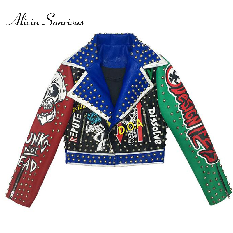 2020 Spring Faux Punk Leather Jacket Women Graffiti Printed Mixed Colors Semi-Split-Neck Rivets Studded Biker Coat AS70385