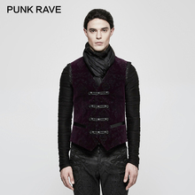 PUNK RAVE Gothic Retro Palace Flower Pattern Printing Men Waistcoats Double-breasted Adjustable Button Tank Tees Brocade Tops