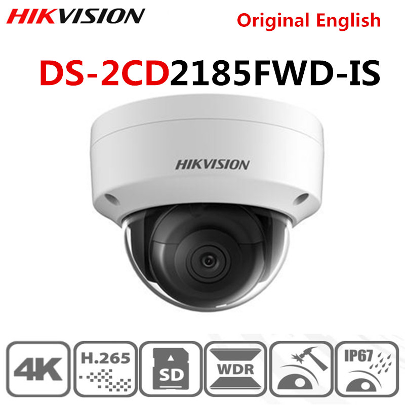 Original Hikvision POE DS-2CD2185FWD-IS Outdoor 8MP Network Security Dome IP Camera H.265 Built-in Audio Interface SD Clot