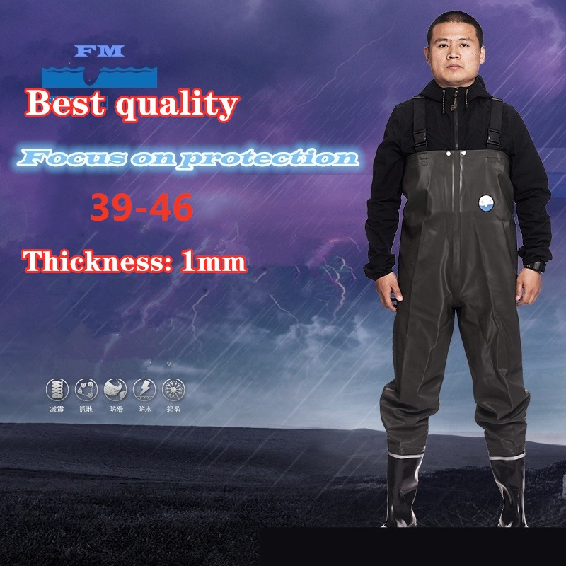PVC Thickened 1mm Fishing Pants Boots Waterproof Waders Non-slip Rubber Shoes Water Wading Hunting Work Fly Fishing Overalls