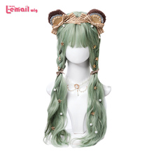 цена на L-email wig Mint Green Lolita Wigs Avocado Color Wavy Harajuku Cosplay Wig Heat Resistant Synthetic Hair Christmas
