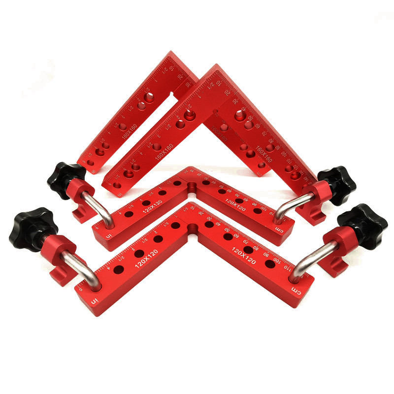 Woodworking Aluminum Square Right Angle Clamping L-shaped Auxiliary Fixture Positioning Panel Fixing Clips Carpenter Tools