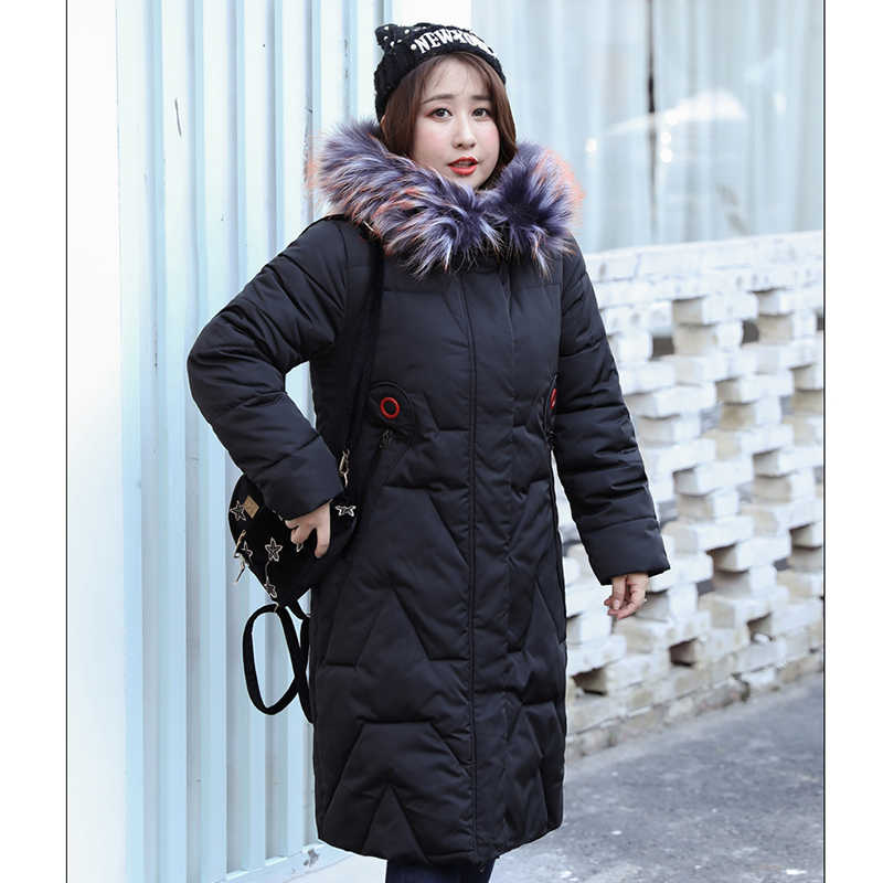 Big Size Parkas Lady 2019 Winter Spring Thick Jackets Euro 50 52 Hood with Fake Fur Ladies Plus Over Size Women Long Outerwear