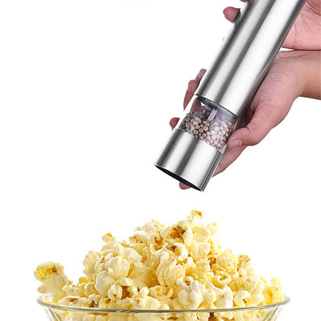 Electric salt and pepper grinding unit (1 packs) - Electronically adjustable vibrator - Ceramic grinder - Automatic one-handed