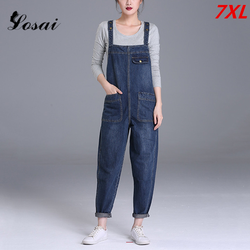Plus Size 7XL Women Denim Jumpsuit 2019 Ladies Loose Jeans Rompers Female Casual Hole Denim Jumpsuits Boyfriend Overall Playsuit