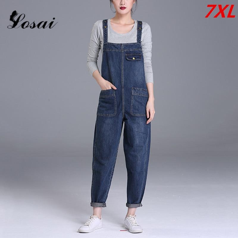 Plus Size 7XL Women Denim   Jumpsuit   2019 Ladies Loose Jeans Rompers Female Casual Hole Denim   Jumpsuits   Boyfriend Overall Playsuit