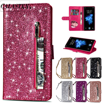 Bling Glitter Case For Samsung Galaxy S20 Ultra S10e S9 S8 Plus S7 Edge Note 8 9 10 Leather Flip Stand Zipper Wallet Cover Coque qijun glitter bling flip stand case for samsung galaxy a7 a 7 a700f 2016 a710 2017 a720 sm a720f wallet phone cover coque