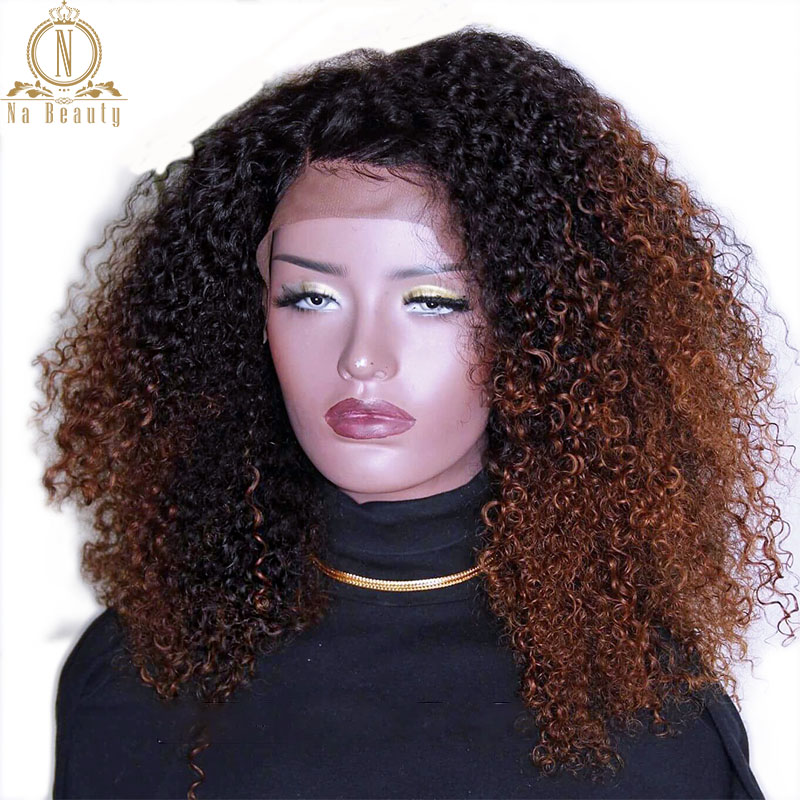 180 Density 1B30 13x6 Lace Front Wig Remy Hair Peruvian Kinky Curly Hair Ombre Color Preplucked Human Hair Black Women Nabeauty