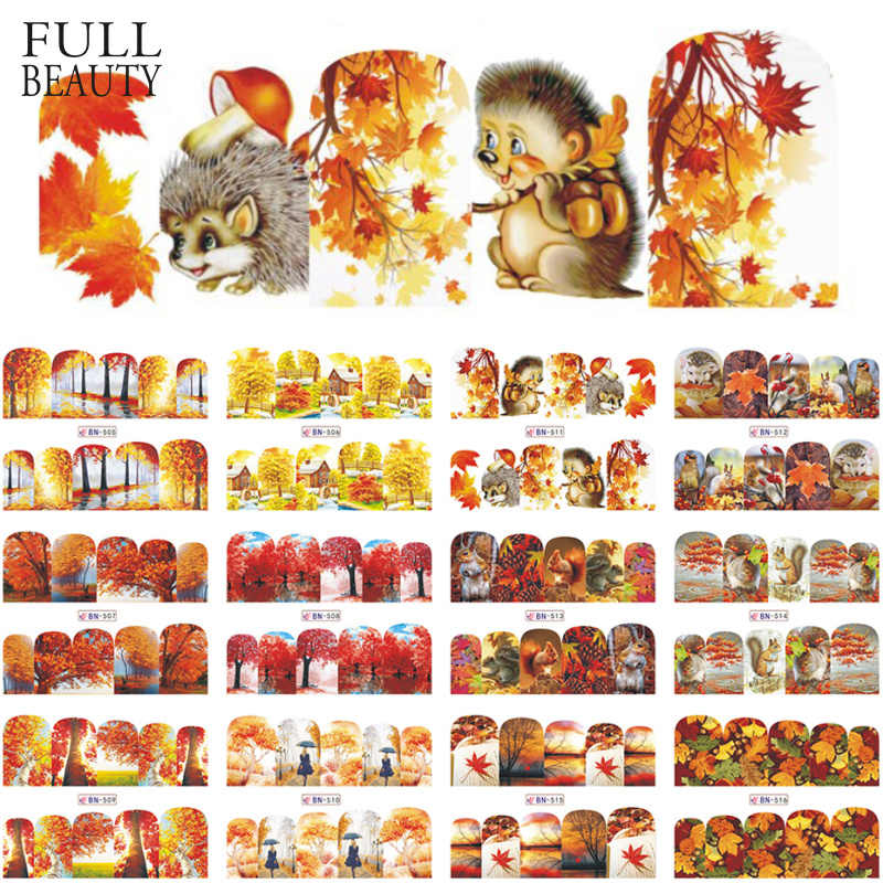 12Pcs Bladgoud Maple Nail Stickers Herfst Water Transfer Decals Nail Art Sliders Voor Manicure Lijm Tatoeages Tips CHBN505-516