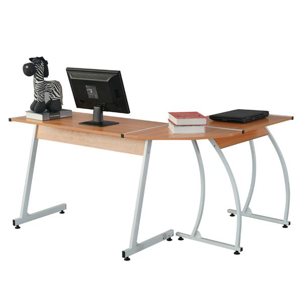 Durable L-Shaped  E1 15MM Chipboard 0.7mm Steel Arc Legs Splicing Computer Desk For Teachers Students Businessmen