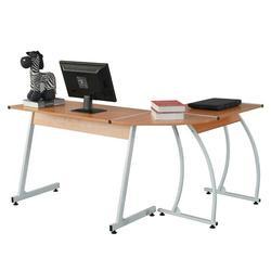 Durable en forma de L E1 15MM aglomerado 0,7mm patas de arco de acero empalme Escritorio de ordenador para profesores estudiantes hombres de negocios