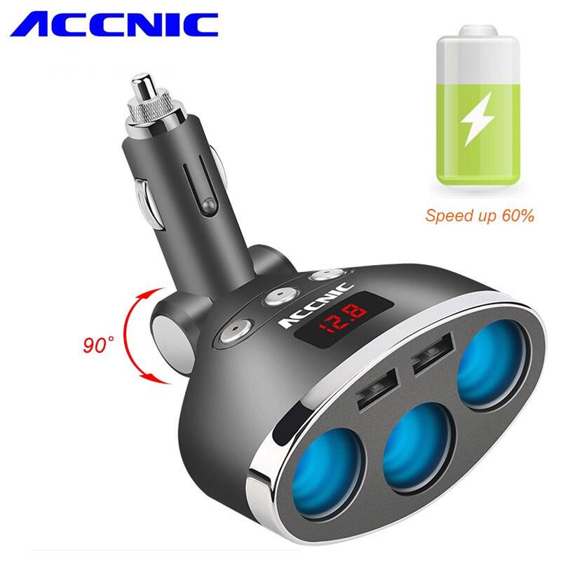 ACCNIC 3 en 1 double USB voiture allume-cigare prise répartiteur prise 3 allume-cigare voiture USB moniteur de tension pour iPhone Samsung