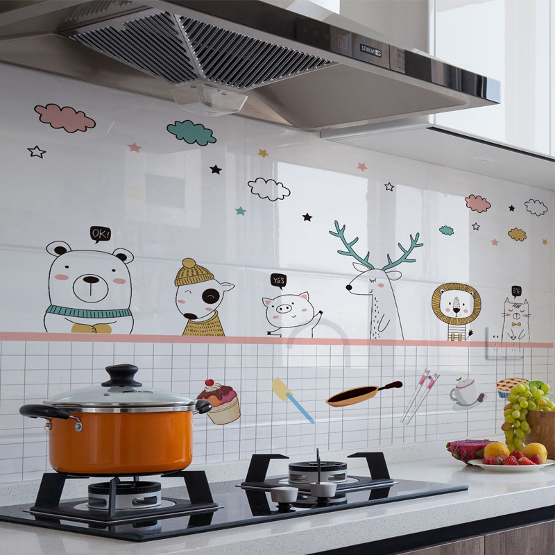 Kitchen Cartoon Wall Stickers Oil-proof High Temperature Resistant Decals RE