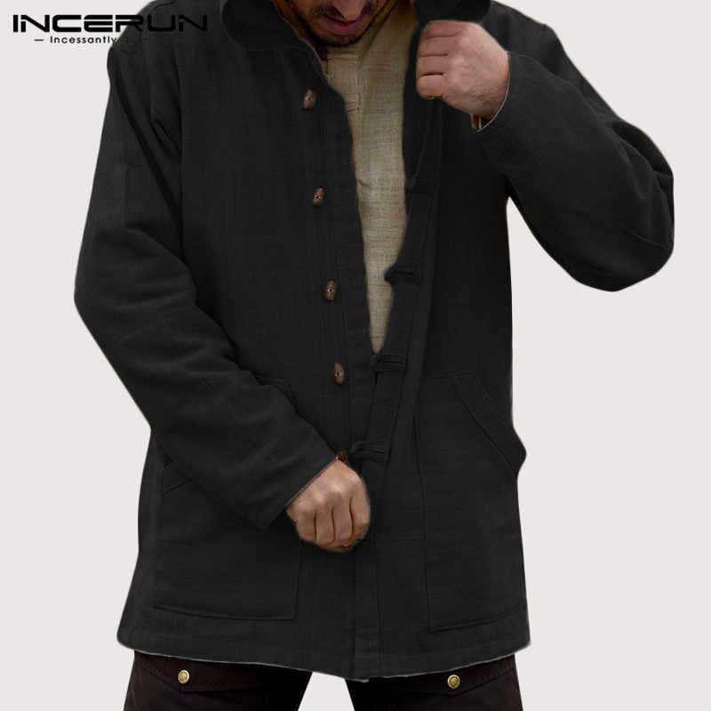 INCERUN sonbahar Vintage erkekler Hoodies pamuk cepler Casual düğme uzun kollu kapüşonlu eşofman üstü Streetwear gevşek giyim 2020