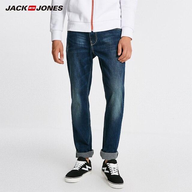 ג ק ג ונס גברים חם כותנה מוצק ישר ג ינס מכנסיים ג ינס אופנוען