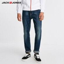 Jack jones calças de brim retas sólidas de algodão para homem
