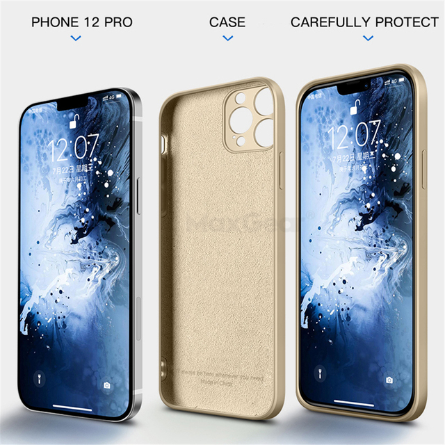 Luxury Original Square Liquid Silicone Case For iPhone 12 11 Pro Max Mini X XR XS Max 7 8 6s Plus SE 2020 Shockproof Soft Cover 6