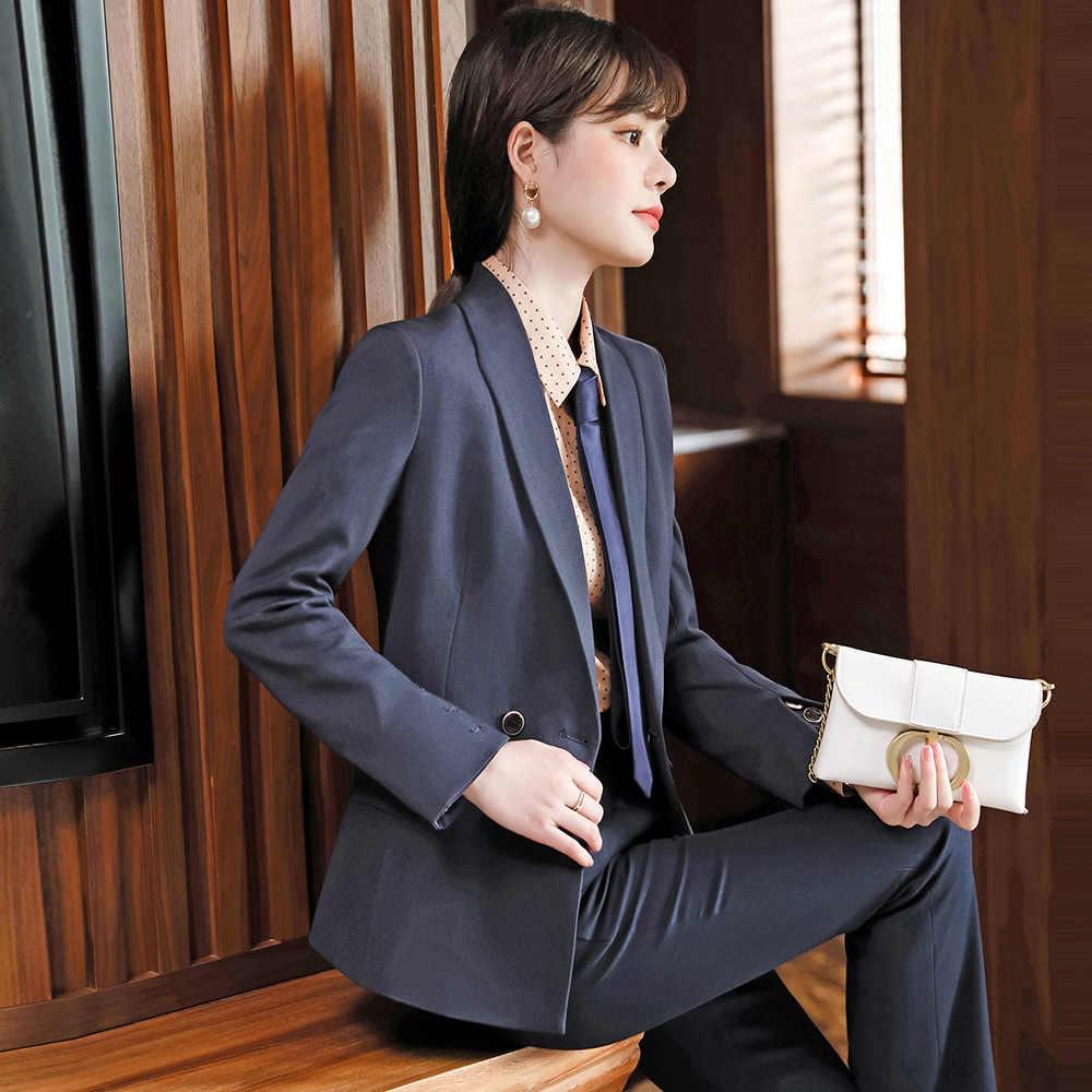 Дизайнерский Костюм с манжетами и манжетами, пальто со штанами, костюм из двух предметов для женщин 2020, Осень-зима, Новый профессиональный