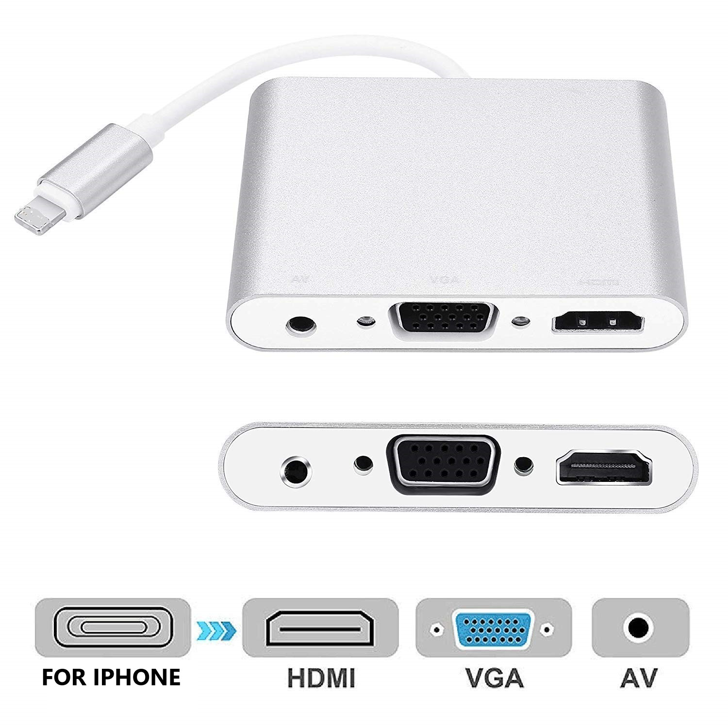 4 In1 Digital Audio Video HDTV Konverter für IPhone Zu HDMI VGA AV Adapter für IPhone Xs X XR 8 7 6plus für IPad Air/mini/pro