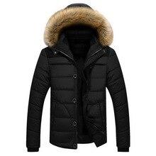 新しい冬のジャケットの男性ブランドファッションカジュアルスリム厚く暖かいメンズコートパーカーフード付きロングオーバーコート男性服