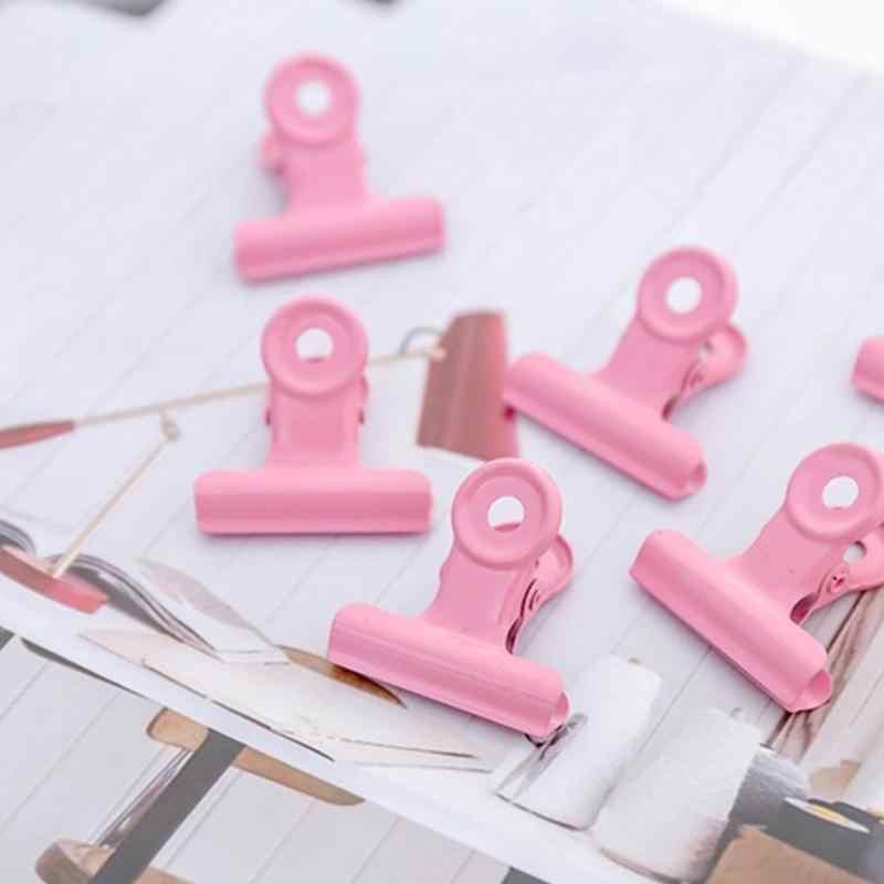 1 Pc Cute Logam Binder Klip Kertas Logam Bulat Ekor Klip Klip Kertas Aksesoris Kantor Kantor Binding Supplies File Klip