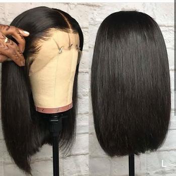 Yyong 13 #215 4 Blunt Cut Bob peruka krótka koronkowa peruka z ludzkich włosów brazylijski prosto Bob peruki z dziecięcymi włosami Remy koronkowa peruka na przód 120 tanie i dobre opinie Średni Proste Koronki przodu peruk Remy włosy Ludzki włos Pół maszyny wykonane i pół ręcznie wiązanej NONE Swiss koronki