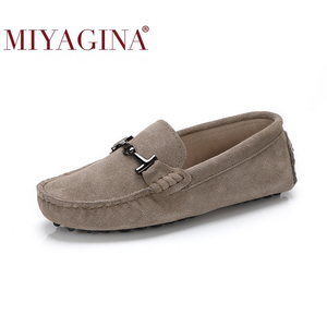 Image 1 - MIYAGINA 100% Genuine Leather Women Shoes 2020 New Women Flats Spring Flat moccasins Woman Casual Shoes 17 Colors Size 34 41