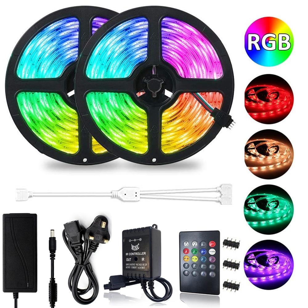 10M 5M RGB LED Strip Music Sound Sync 300 LEDs Color Changing SMD 2835 LED Strip Light Music IR Remote DC12V Power Adapter