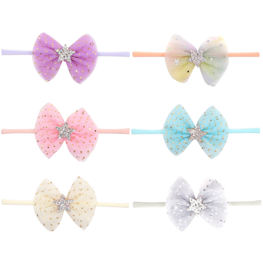 Lace Glitter Baby Hair Bands Bow Set Newborn Headbands For Girls Shiny Star Soft Baby Headbands Nylon Elastic Hair Accessories