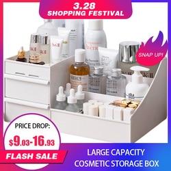 Grande capacidade caixa de armazenamento de cosméticos gaveta organizador de maquiagem jóias unha polonês maquiagem recipiente desktop sundries caixa de armazenamento