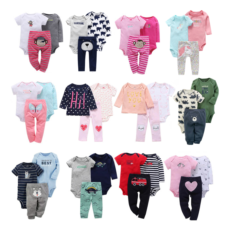 Infant Baby Boy Girl Clothes 2019 Fashion Cotton Floral Animal 3PCS Sets Tops+Romper+Pants Newborn Bebe Kids Clothing Outfits