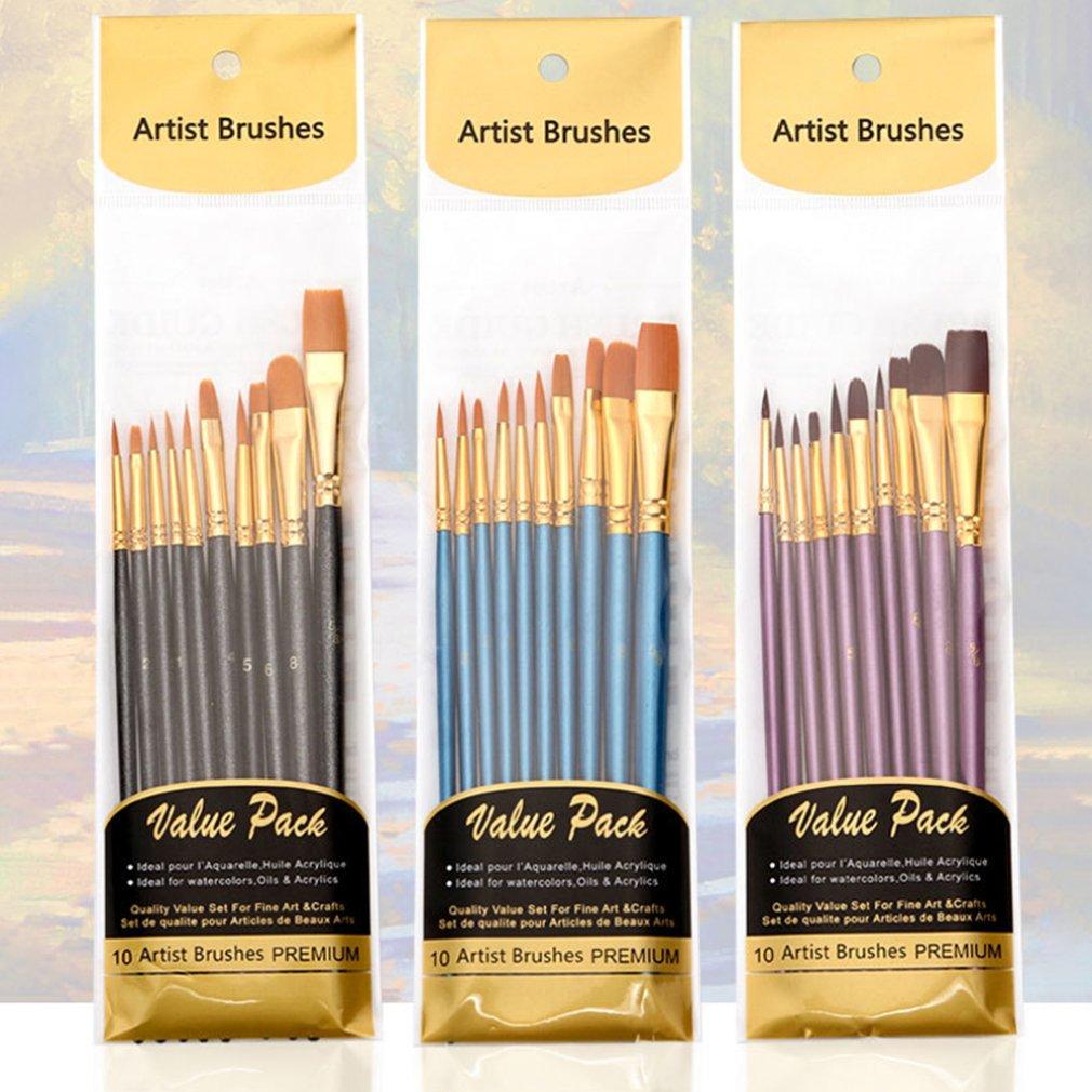 Художественная нейлоновая кисть для рисования профессиональная Акварельная акриловая деревянная ручка кисти для рисования художественные канцелярские принадлежности 10 шт. 1