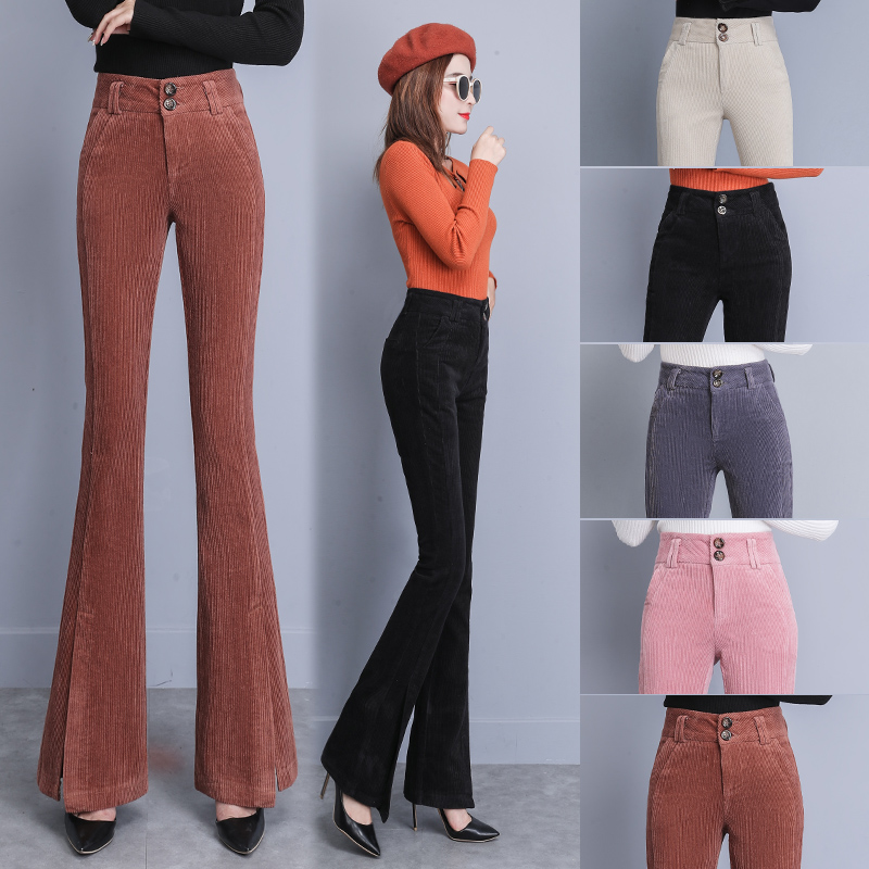 Beige,Coffee,Black,Pink,Gray Corduroy Pants Autumn Winter Women High Waist Bell Bottom Split Flare Pants S-XXL