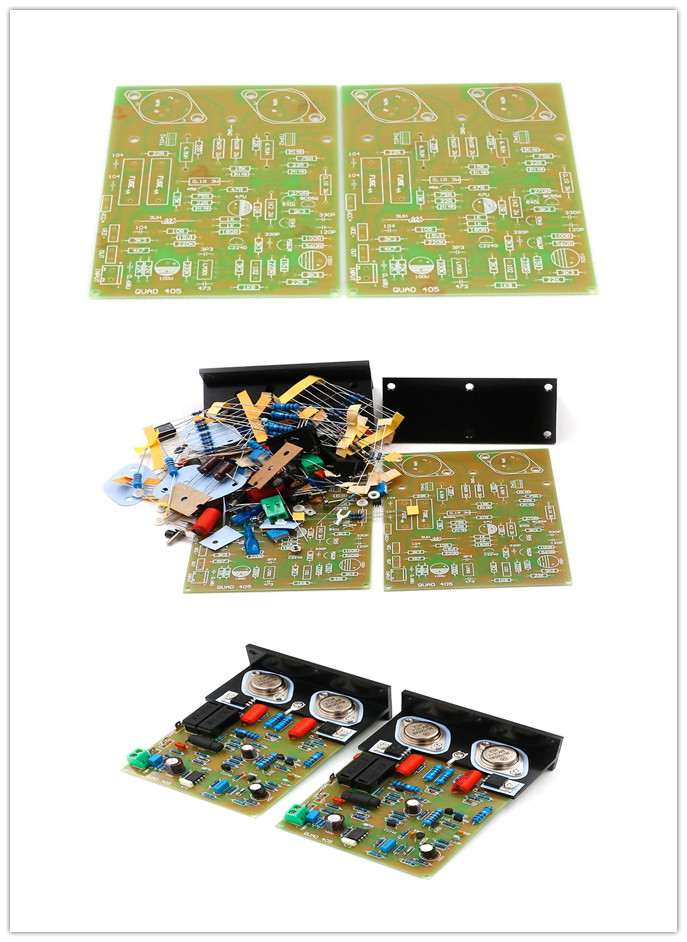 Hifi QUAD-405 CLONE Amplifier Board /Pcb/ Kit MJ15024+Angle Aluminum (2 Channel) 100W*2 AMP