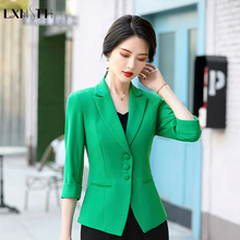 Summer Blazer for Women Large Size Elegant Slim Single Breated Ladies Office Work Blazer Coats Female Green Orange Black 4XL